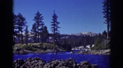 1939: crystal blue water of the river flowing through the woods LAKE TAHOE Stock Footage