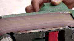 Belt sander, close-up Stock Footage