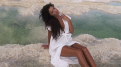 Beautiful Girl at the Dead Sea. Stock Footage