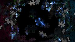 Shatters Into jigsaw puzzle Stock Illustration