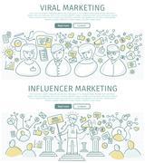 Set of Marketing Flat Design Vector Web Banners Stock Illustration