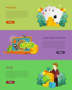Set of Gambling Vector Banners In Flat Design Stock Illustration