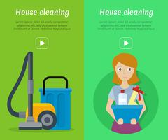 Set of Cleaning Service Flat Style Web Banners Stock Illustration