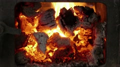 Stove with the open door, close-up Stock Footage