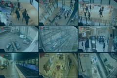 Surveillance - Monitor - Street - Shopping Centre - Parking - Tv Screen - blue Stock Footage
