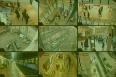 Surveillance - Monitor - Street - Shopping Centre - Parking - Tv Screen - grey Stock Footage