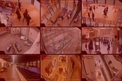 Surveillance - Monitor - Street - Shopping Centre - Parking - Tv Screen - red Stock Footage
