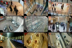 Surveillance - Monitor - Street - Shopping Centre - Parking - Tv Screen  Stock Footage