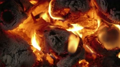 Fire of burning wood, close-up Stock Footage