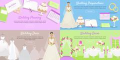 Wedding Planning Preparation, Decor Dress Banner Stock Illustration