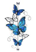Blue morpho and white butterfly Stock Illustration