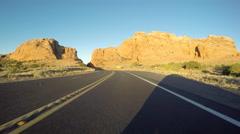 Arizona Desert Dawn Driving Highway 89 Road Cut Stock Footage