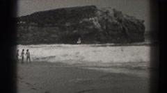 1937: people enjoying a day at the beach SANTA CRUZ CALIFORNIA Stock Footage