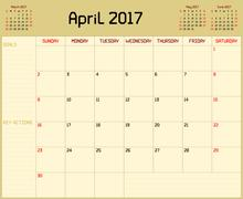 Year 2017 April Planner Stock Illustration
