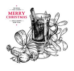 Christmas greeting card.Vector hand drawn illustration with holl Stock Illustration