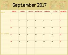 Year 2017 September Planner Stock Illustration