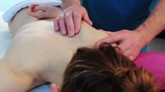 Back massage for young beauty woman Stock Footage