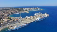 Rhodes, Greece - Aerial view of the old town and port. Stock Footage