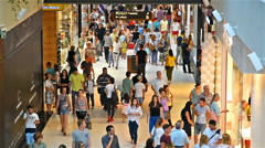 People Crowd Rush For Shopping In Luxury Mall Interior Stock Footage