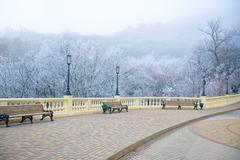 View of rime-covered park with benches, lights on winter day Stock Photos