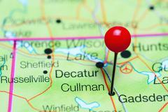 Cullman pinned on a map of Alabama, USA Stock Photos