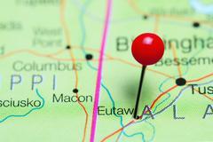 Eutaw pinned on a map of Alabama, USA Stock Photos