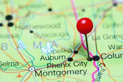 Phoenix City pinned on a map of Alabama, USA Kuvituskuvat