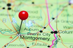 Montgomery pinned on a map of Alabama, USA Stock Photos