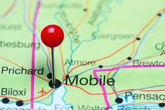 Mobile pinned on a map of Alabama, USA Stock Photos