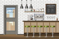 Illustration of a modern coffee shop Stock Illustration