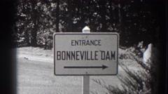 1938: sign directions BONNEVILLE DAM OREGON Stock Footage