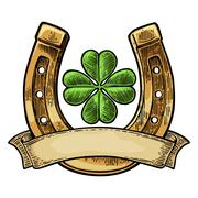 Good luck four leaf clover and horseshoe with ribbon Stock Illustration