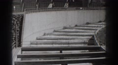 1938: water traveling down some steps. BONNEVILLE DAM OREGON Stock Footage