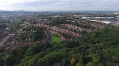 Aerial view of a housing area in Dudley, West Midlands. Stock Footage