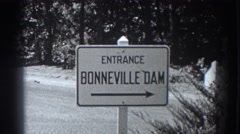1938: a sign showing the direction towards the bonneville dam FORT ROSS Stock Footage