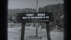 1938: a sign standing in the middle of a field. FORT ROSS CALIFORNIA Stock Footage