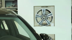 The front of the new black car. The windshield of the new car. View of row new Stock Footage