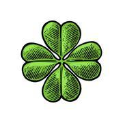 Good luck four leaf clover. Vintage color vector engraving illustration for i Stock Illustration