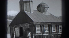 1938: service being held at an old wooden church FORT ROSS CALIFORNIA Stock Footage