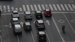 Detail of important avenues traffic flow, pulse. Zebra and lane lines. Stock Footage
