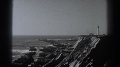 1938: the waves coming slowly to kiss the rocky shore of the sea FORT ROSS Stock Footage