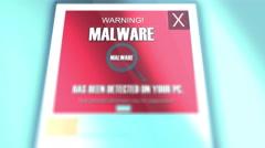 Computer Malware Bytes Pop Up Dialogue Close Up computer virus noti Stock Footage