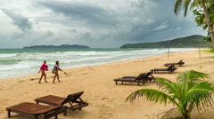 Empty sunbeds on a cloudy day at the beach of El Nido. Palawan island Stock Footage