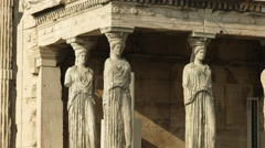 Zoom in shot of the erechthion maidens in athens, greece Stock Footage