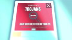 Computer Trojans Pop Up Dialogue Close Up computer virus notificati Stock Footage