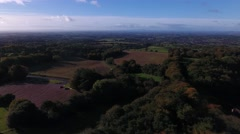 Aerial view of Warwickshire countryside. Stock Footage