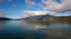 Standup Paddle Columbia River Gorge near Hood River Oregon. Stock Footage
