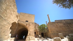 Castle in Lindos on the island of Rhodes in greece, Europe Stock Footage