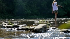 Girl Walking River 4k Stock Footage