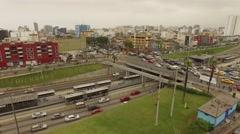 Aerial of traffic chaos in Lima, Peru Stock Footage